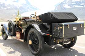 Rolls Royce 1912 in front of Columbia Icefield, Canada