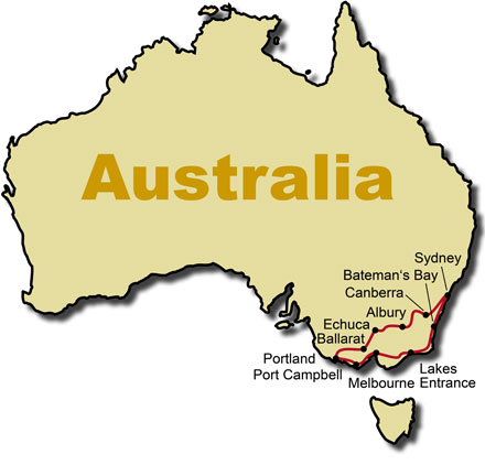 The Route for the Australia Down Under Motorcycle Tour