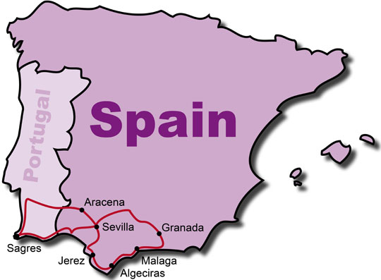 The Route for the Andalucia Motorcycle Tours