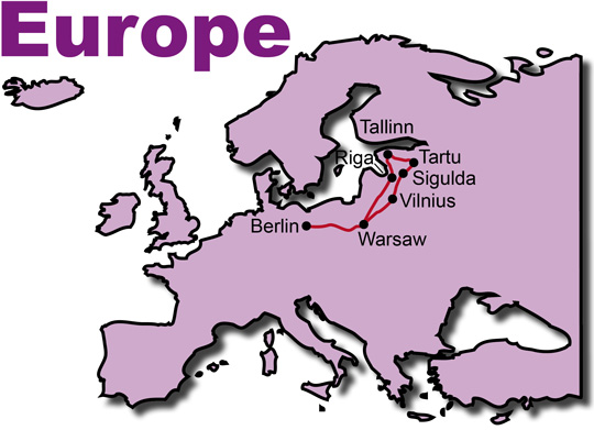 Route of the Baltic States motorcycle tour