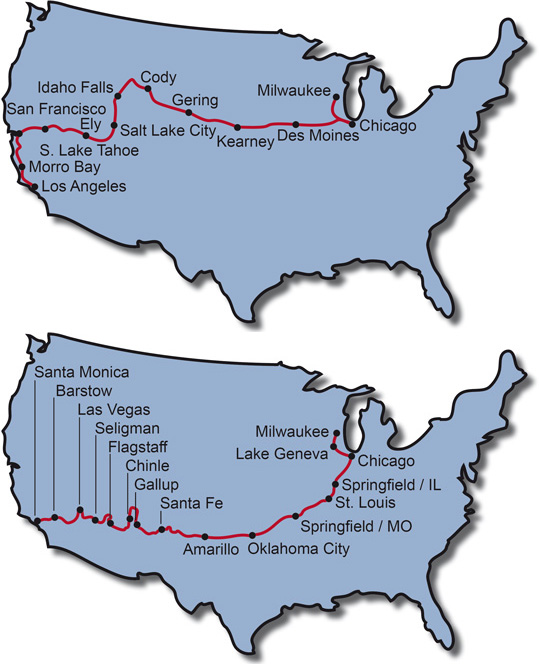 The Route for the Motorcycle Tour Pony Express USA + Motorcycle Tour Route 66