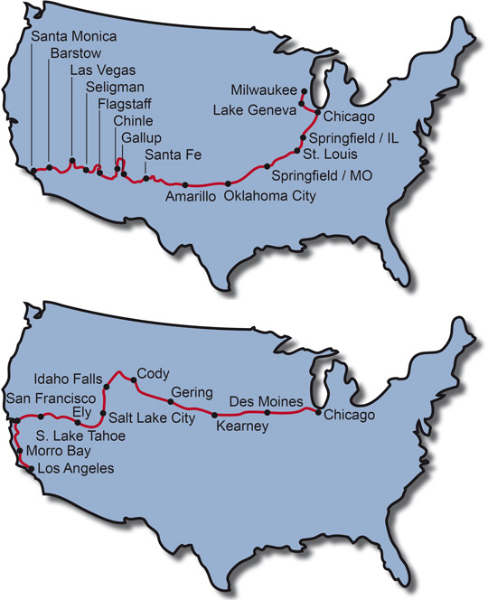 The Route for the Motorcycle Tour Route 66 + Motorcycle Tour Pony Express Trail