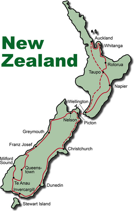 The Route for the New Zealand Motorcycle Tour Highlights by Reuthers