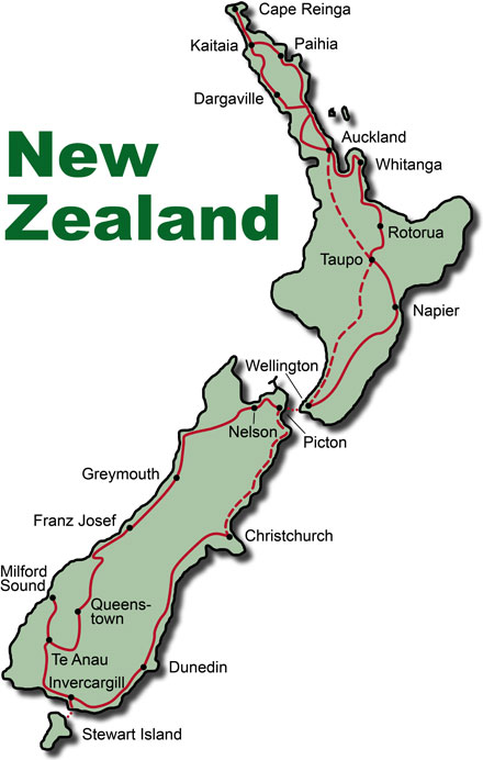 The Route for the Rental Car Tours New Zealand Paradise