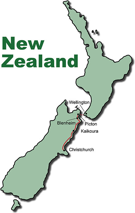 The Route for the Bus Tours New Zealand Coastal