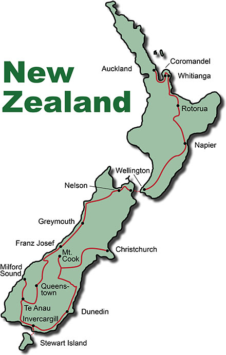The Route for the Bus Tours New Zealand Discover