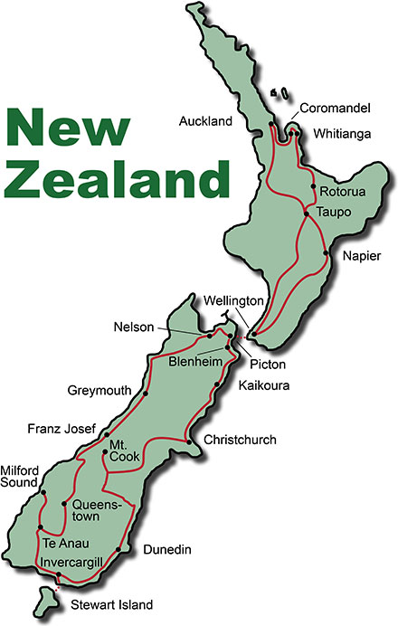 The Route for the Photo Tour New Zealand Highlights