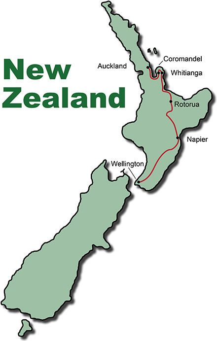 The Route for the Adventure Tour New Zealand North Island
