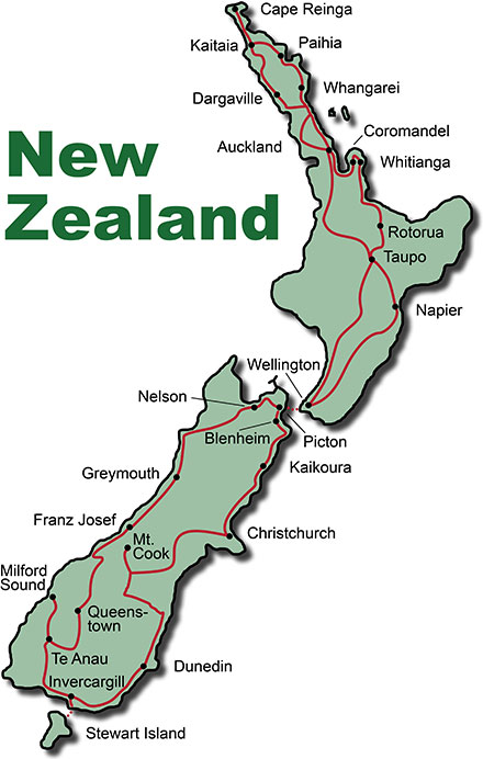 The Route for the Photo Tour New Zealand Paradise