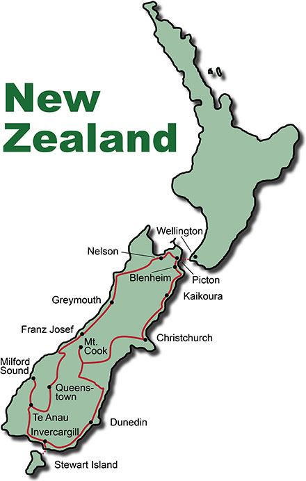 The Route for the Bus Tours New Zealand South Island