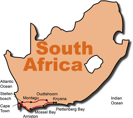 The Route for the South Africa Harley & Golf Tour