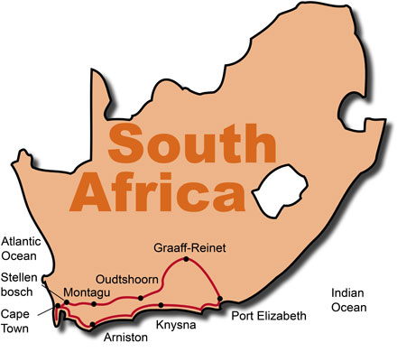 The Route for the South Africa Wild Garden Tour