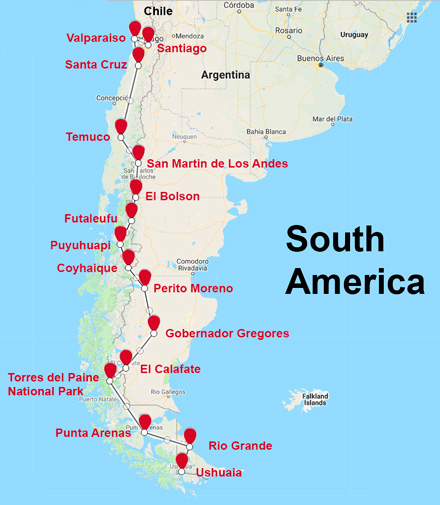 The Route for the South America Patagonia Motorcycle Tour