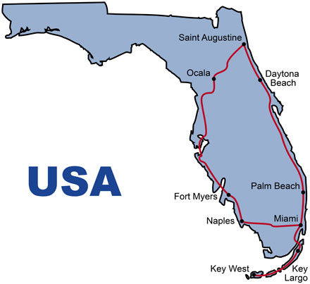 The Route for the Florida Sunshine Minibus Tour
