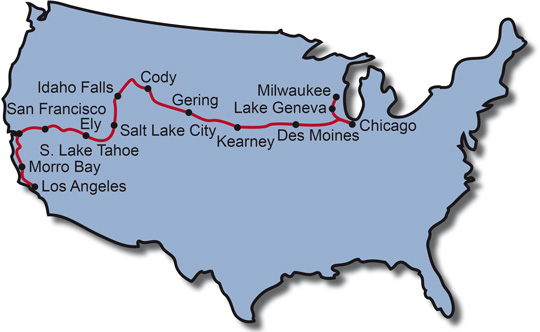 The Route for the Pony Express Trail Motorcycle Tour