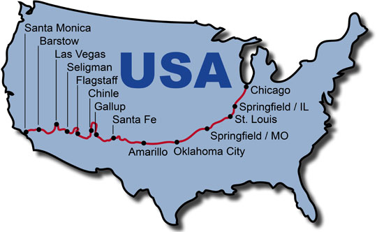The Route for the Route 66 Dream Motorcycle Tour