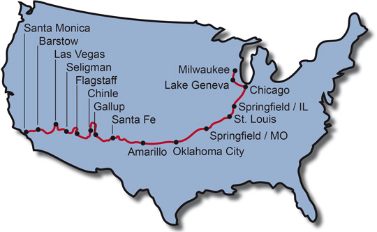 The Route for the Motorcycle Tour Route 66